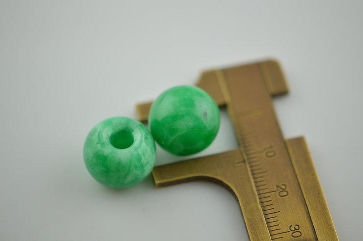 Grande foro Geen Jade Stone Barrel Rondelle Branelli allentati in forma di gioielli fai da te moda