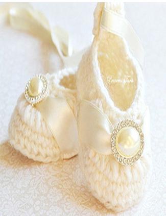 6% de réduction, chaussures bébé fille en ivoire - chaussons bébé laine mérinos avec ruban de satin et embellissement strass perle, haute qualité, 9pai / 18PCsrs