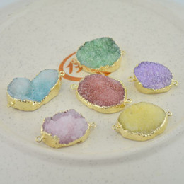 Wholesale Oval Stone Beads - Hot! 10pcs Gold Plated & Mixed Color Drusy Druzy Connector Beads gem stone Findings