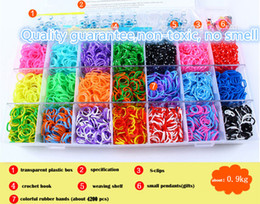 Wholesale loom rubber band kits - Retail DIY Loom Bracelet Rubber Bands Kit for Kids & Adults(600 1800 2600 4200pcs rubber bands+S-clips+crochet hooks) 4 types RM01