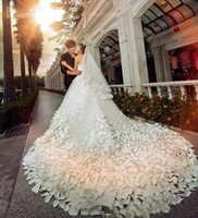 Cheap white luxury church sheer wedding dress - 2017 New Luxury Wedding Dresses With Sweetheart Crystals Beads Backless Handmade Flowers A Line Chapel Train Tulle Hot Church Bridal Gowns
