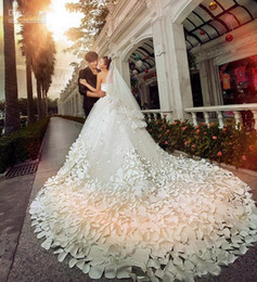 Wholesale Wedding Lace Hot Pink - 2015 New Luxury Wedding Dresses With Sweetheart Crystals Beads Backless Handmade Flowers A Line Chapel Train Tulle Hot Church Bridal Gowns