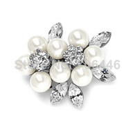 Wholesale Small Pearl Clusters - Vintage Style Rhodium Silver Ivory Pearl Cluster and Marquise Crystal Corsage Small Pin Brooch