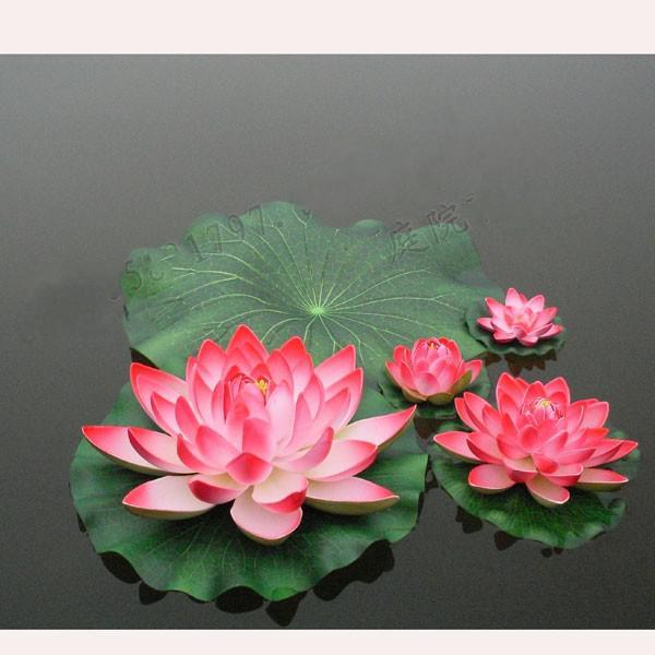 top popular Artificial Lotus flower Simulation Flower Artificial Lotus flower floating water Plants Home garden pool Decorations supplies 2019