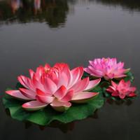 piscina agua decoraciones flotantes al por mayor-Artificial flor de loto simulación flor Artificial flor de loto flotante plantas de agua Jardín de la casa decoración de la piscina