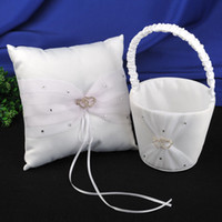 Wholesale Double Heart Ring Pillow - Wedding Favors Wedding Party white satin organza double hearts Ring Pillows & Flower Baskets ring pillow and girl's folwer baskets