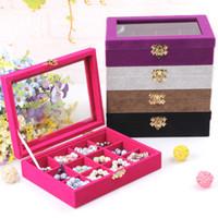 ingrosso scatole di visualizzazione del tallone-Qualità 12 Griglia Vassoio di gioielli con coperchio in vetro Anello orecchino Collana Braccialetto Display Box perline sciolte Jewelry Storage Box