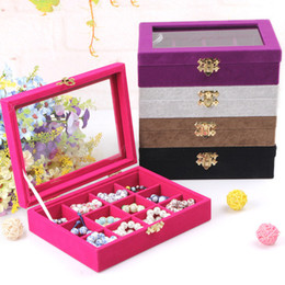 Wholesale Wooden Ring Jewelry Box - Quality 12 Grid Jewelry Tray With Glass Lid Ring Earring Necklace Bracelet Display Box Loose Beads Jewelry Storage Box