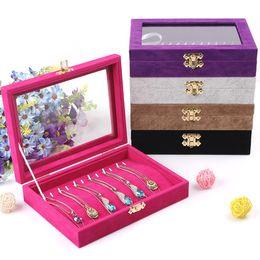 Bandeja de joyería de calidad con tapa de vidrio titular de la pulsera colgante, collar, bandeja, joyería, exhibición, caja de almacenamiento, organizador de la joyería desde fabricantes