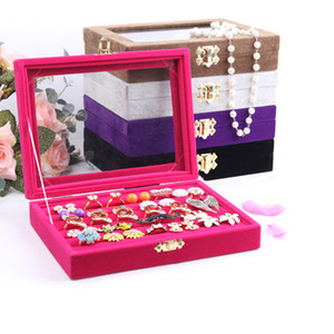 Wholesale glass displays cases for sale - Group buy Quality Jewelry Tray With Glass Lid Ring Holder Earring Tray Jewelry Display Storage Box Jewelry Cases