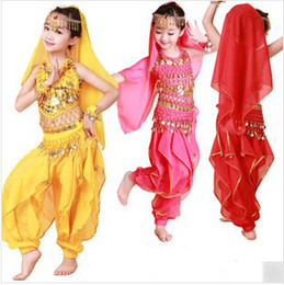 Wholesale Dancing Costumes Kids - Childrens Indian Dance Performance Clothing Belly Dance Costume Full Sets Dress For KID Children M0186