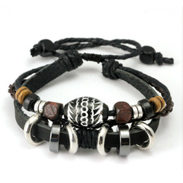 Wholesale Bead Jewelery - New Arrival Wrap Black Leather Rope Bracelet for Men Colorful Wooden Beads and Metal Charms Fashion Jewelery