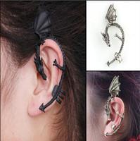 Wholesale Dragon Hook Earrings Punk - Gothic Punk Dragon Bite Ear Cuff 2015 Fashion Wrap Temptation Metal Clip Earring Halloween Easter Ear Hook Ear Cuff -E040