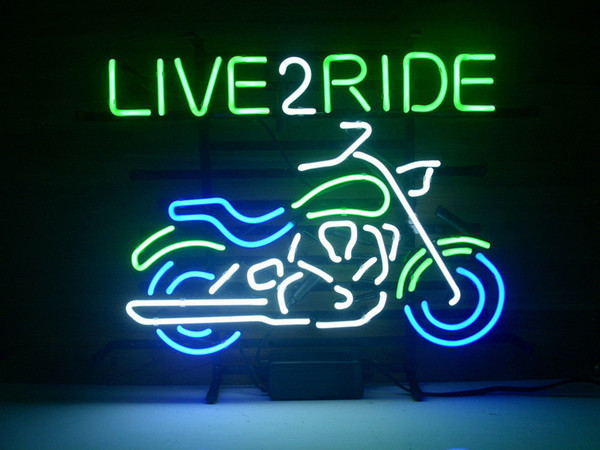 LIVE 2 RIDE Neon Sign Real Glass Tube Bar Store Business Advertising Home Decoration Art Gift Display Metal Frame Size 18''X18''