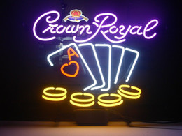 Wholesale Crown Royal Neon Lights - New Crown Royal Poker Chips Handicrafted Real Glass Tube Neon Light Beer Lager Bar Pub Sign Optional size