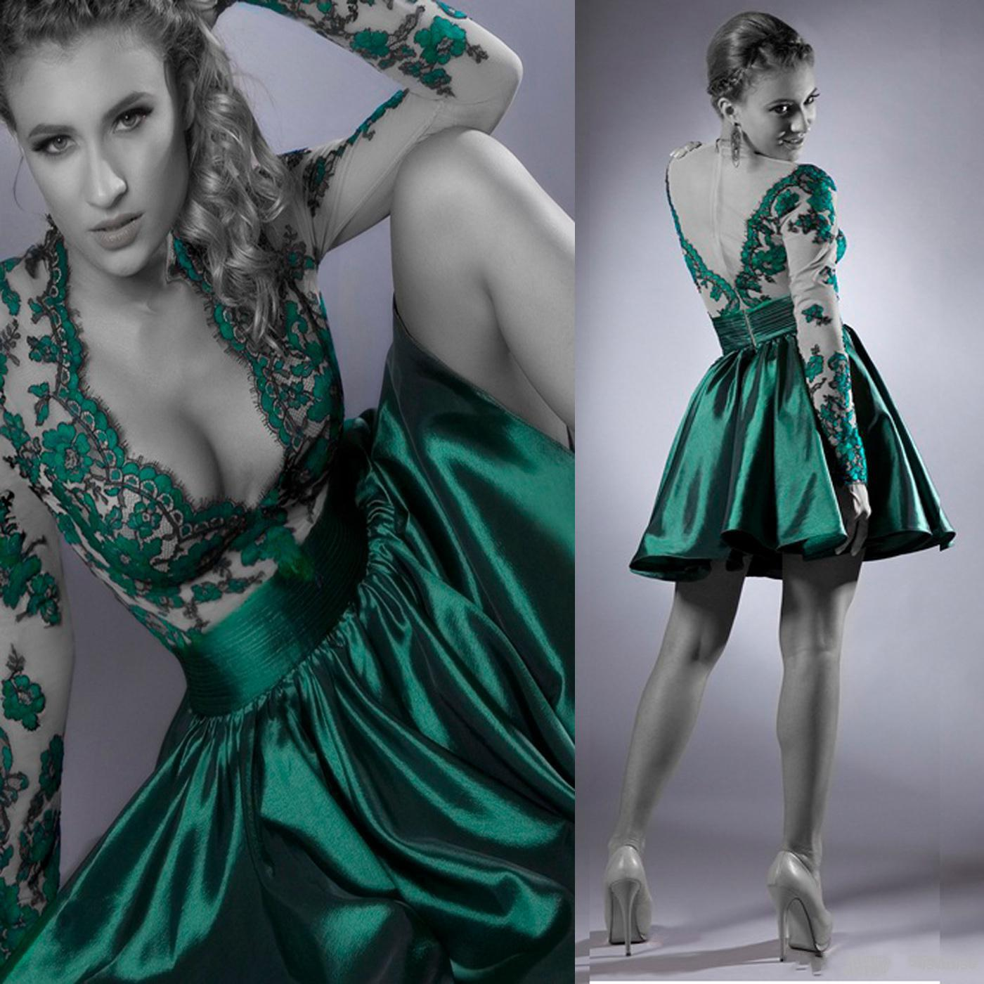 2015 A Line Sexy Cocktail Dresses Huter Green Deep V Neck Lace ...