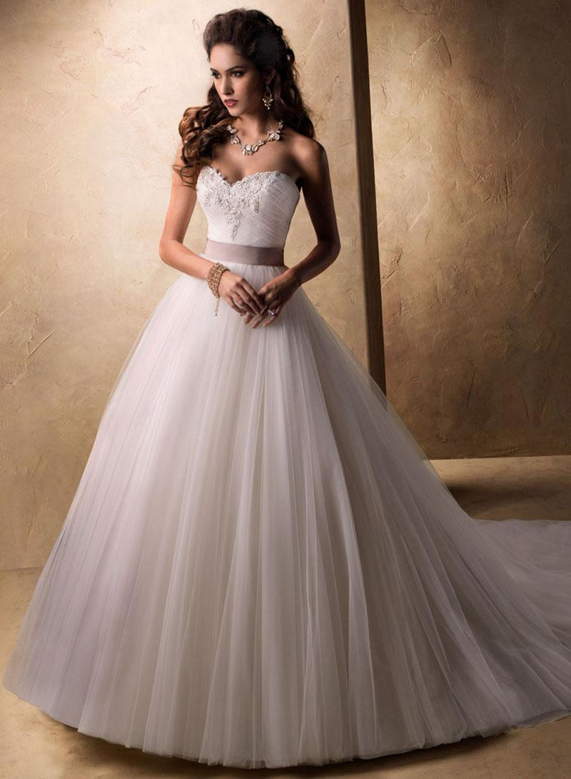 Discount 2015 Luxury Rhinestone Princess Tube Top Bandage Wedding ...