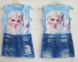 Wholesale Tight One Piece Knee Length - Frozen Elsa Dress Frozen Sheath Dress for Girls 2-7ages Demin Frozen Dress tight one piece dress vestidos de menina