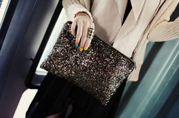 Wholesale Bag Cosmetic Coloured - Luxury Gold Handbag Dazzling Glitter Sparkling Bling Sequins Evening Party Bag Handbag Clutch Bags Cosmetic Pouch 9 Colours Hot Sale