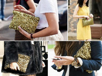 Wholesale Wholesale Suede Evening Bags - Hot sale!500 sold out Dazzling Glitter Sparkling Bling Sequins Evening Party purse Bag Handbag Women Clutch wallet Makeup Bags 9Colours
