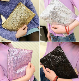 Wholesale Wholesale Crystal Evening Handbags - Fashion Women's Gold Handbag Sparkling Sequins Dazzling Clutch Party Evening Bag Ladies Handbag Girls Crystal Bling Purse Cosmetic bag