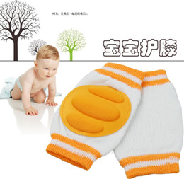 Wholesale Elbow Knee Pads Baby - Free Shipping Baby Knee Pads Stripe Thick Safety Elbow Pad Crawling Protector 1 pair