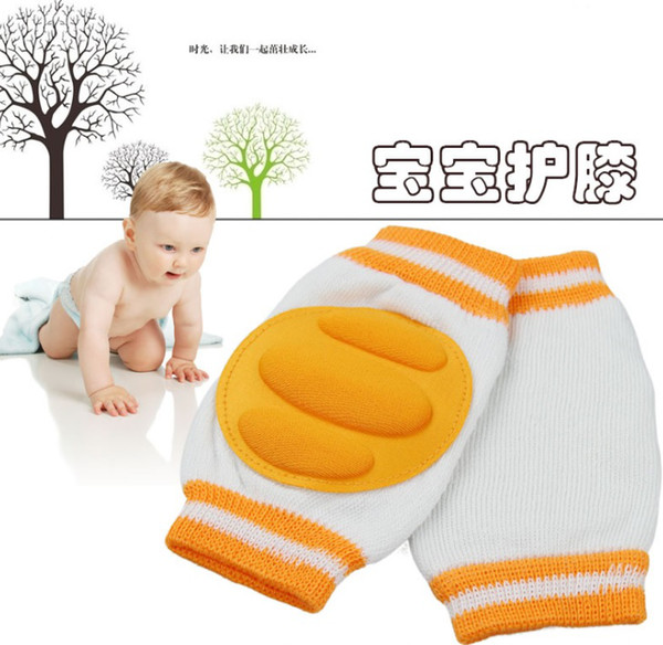 best selling Free Shipping Baby Knee Pads Stripe Thick Safety Elbow Pad Crawling Protector 1 pair