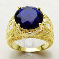 anillo de zafiro amarillo oro 18k al por mayor-Envío gratis Tamaño de la joyería de la manera 9/10/11 Hombres 18 K oro amarillo lleno enorme 15ct Sapphire Diamonique hombres anillo para el regalo del amante