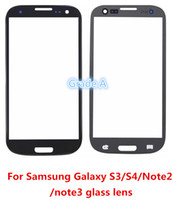 Wholesale Galaxy S4 Glass Lcd - Grade A+ Quality Front Screen Glass Lens Outer Glass For Samsung Galaxy S3 S4 NOTE2 NOTE3 i9300 i9500 7100 N9000 Free Shipping