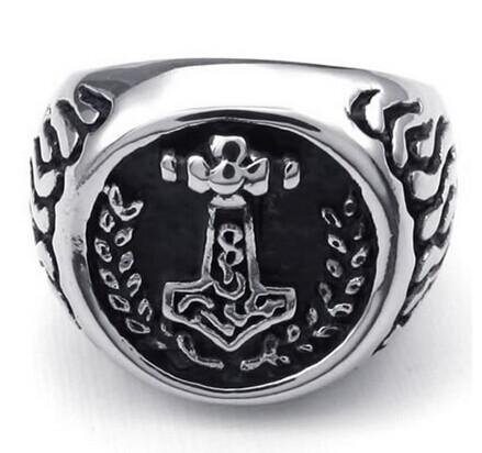 Fashion Jewelry Massiness Vintage Stainless Steel Band Myth Thor's Hammer Ring Black Silver US size 7 to 13 Drop Shipping