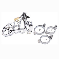 Wholesale Chastity Belts For Sell - Hot Selling Male Chastity belt Stainless Steel Cock Cage For Man Metal Bondage Device with Spike Ring Silver Cock Cage