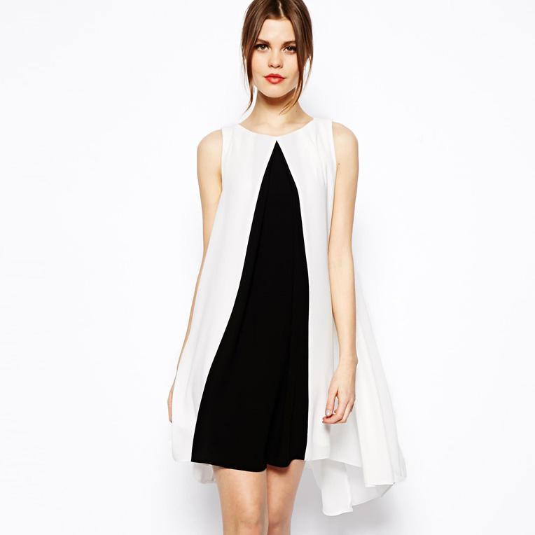 Black And White Color Block Chiffon Dress Sleeveless Low High Swing ...