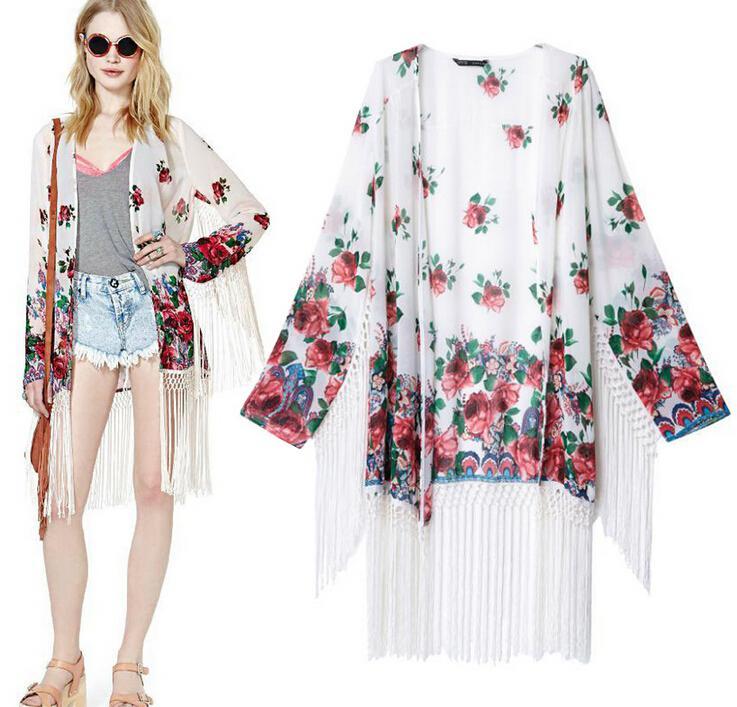 2018 2014summer Women Floral Print Chiffon Fringe Kimono Cardigan ...