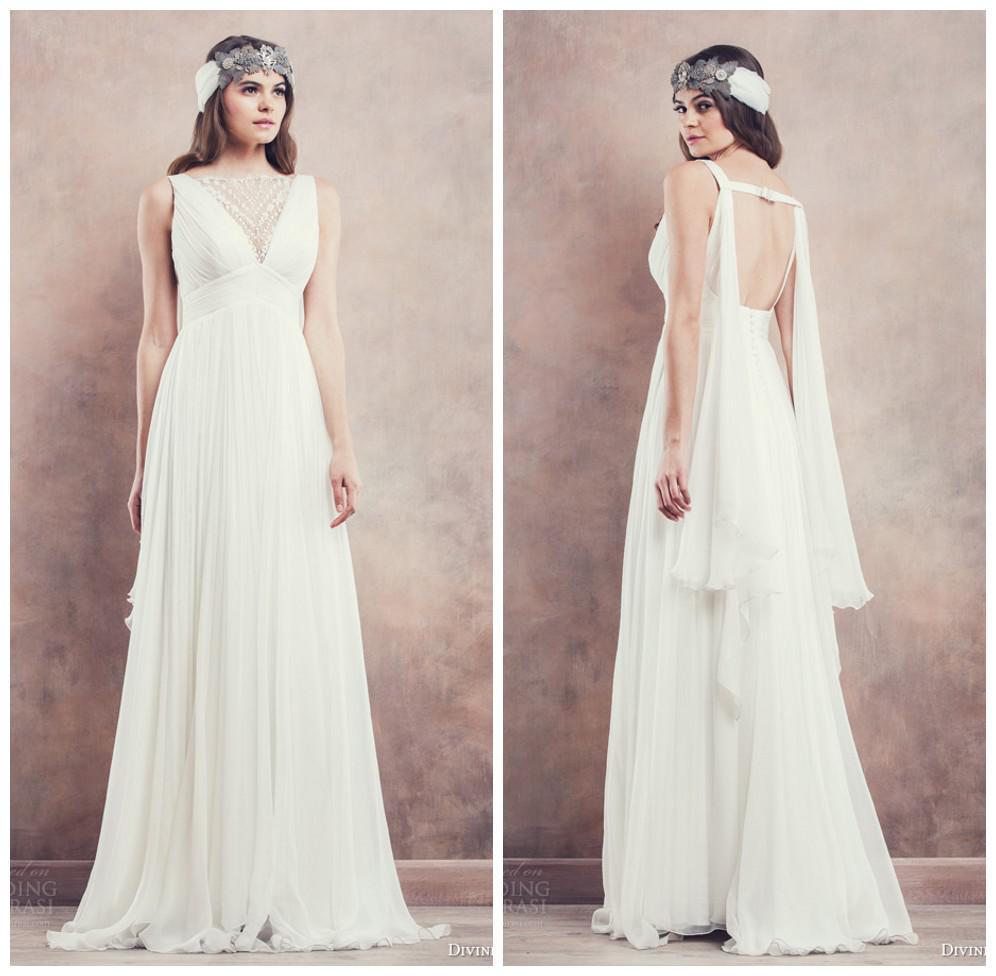 Discount Divine Atelier 2014 Amazing Wedding Dresses Bateau Neckline Sleeveless Floor Length Beaded Backless Greek Bridal Gowns Short Dress