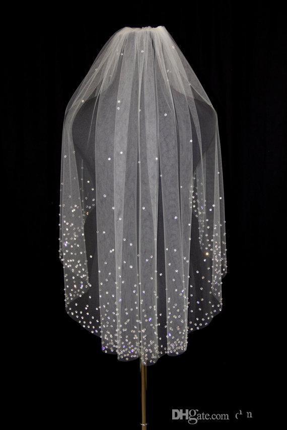 أحجار الراين المبهرة طبقة واحدة الكوع طول الحجاب الزفاف تول مع اكسسوارات الزفاف مشط