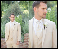 Wholesale Designers White Groom Wedding Suits - New Designer Slim Fit Groom Tuxedos Beige Two Buttons Side Slit Best Man Suit Wedding Groomsman Men Suits Bridegroom (Jacket+Pants+Tie+Vest)
