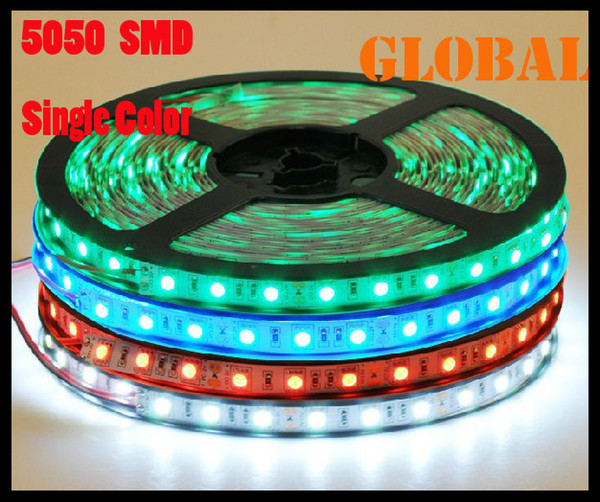 50 Meter LED strip light ribbon 300leds/M SMD 5050 non-waterproof DC 12V RGB/White/Warm White/Red/Green/Blue Christmas Decoration For Car