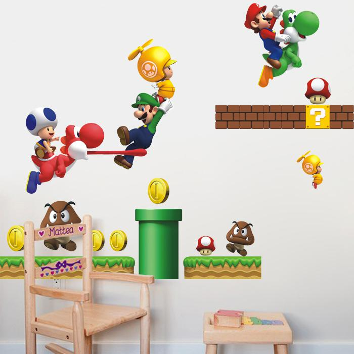 Super Mario Bros Kids Removable Nursery Home Decor Cartoon Wall Sticker Decals