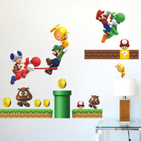 Wholesale Mario Bros Stickers - Free Shipping Super Mario Bros Kids Removable Nursery Home Decor Cartoon Wall Sticker Decals