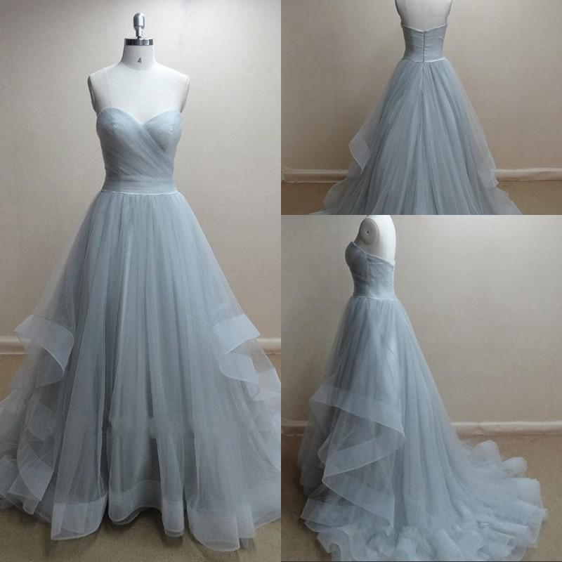 2015 Real Photos Evening Gowns Moonlight Sweetheart A Line Sweep ...