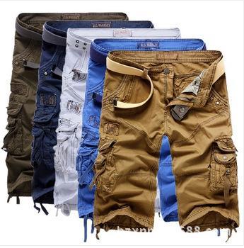 2017 2017 Men'S Khaki Cargo Shorts Baggy Cotton Pants Five Pants ...