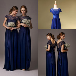 Wholesale Cheap Formal Dresses Free Shipping - Free Shipping In Stock Maid of Honor Cheap Bridesmaid Dresses Dress Formal Ball Gowns Royal Blue Prom Short Sleeves With Lace