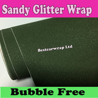Wholesale Military Films - Army Green military Glitter Vinyl Car wrap sparkle Film Air Bubble Free For vehicle decoration Stickers 1.52x30m Roll 5x98ft