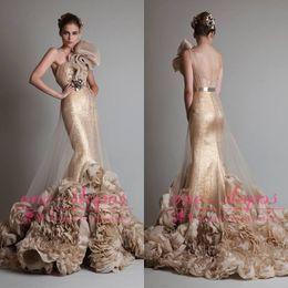 Wholesale Handmade Sashes - Krikor Jabotian Gold Sequin Mermaid Evening Dresses Tulle One Shouder Handmade Flowers Belt Ruffles Train Formal Prom Party Gowns