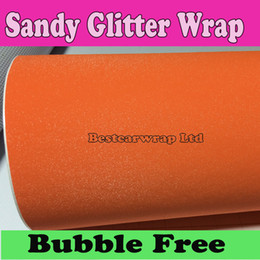 Wholesale Adhesive Glitter Stickers - Glitter Orange Vinyl wrapping air release Car stickers with bubble Free self adhesive vinyl sparkle foile covering 1.52x30m Roll 5x98ft