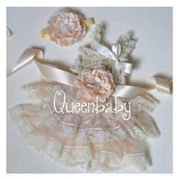Wholesale Ivory Chiffon Flower Headband - Ivory Petti Lace Dresses Matching Baby Headband and Flower Sash Belt Vintage Chic Set 4 sets lot