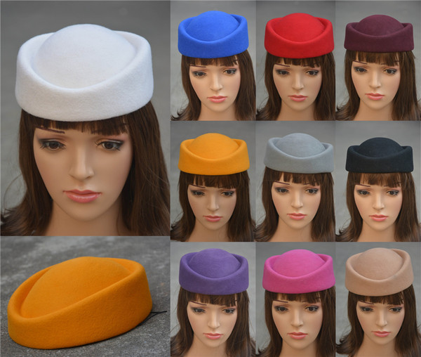 Pure Color Cocktail Fascinator Base Wool Air Hostesses Pillbox Hat Millinery Craft DIY Making Rope A139