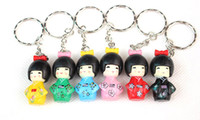Wholesale Japanese Silicone Man Doll - Free Shipping ,Wholesale 600pcs lot ,Mobile Phone Charms, Japanese Oriental Kokeshi Doll PVC Cell Phone Straps KeyChain(1set =6pcs )