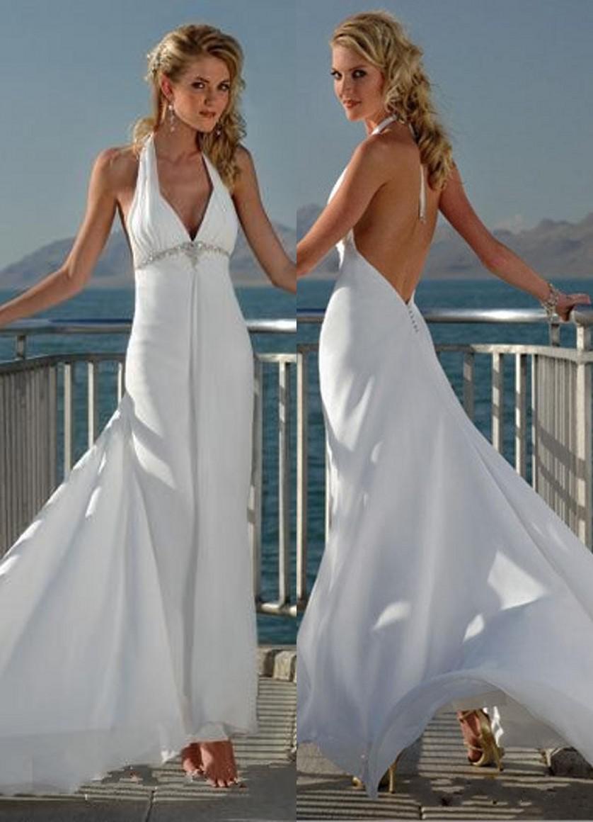 Großhandel 2015 weißen Chiffon Strand Hochzeitskleider Halter ...