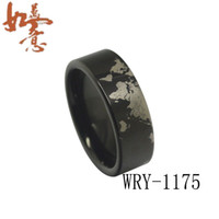 Wholesale Tungsten Carbide Ring Free Shipping - Free Shipping Black World Map Tungsten Carbide Ring Men's Ring WRY-1175 Wholesales Order are Welcome